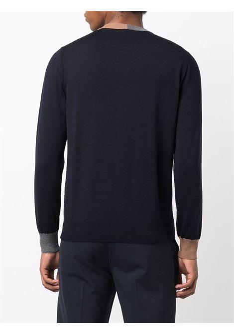 Maglia bicolore blu navy in lana vergine con dettagli a coste ELEVENTY | Maglieria | D71MAGD02-MAG0D00111