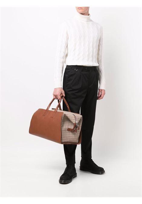 Camel brown bovine leather houndstooth-patterened Weekend bag ELEVENTY |  | D72BORD03-PEL0D03102-04