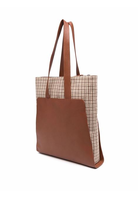 Tobacco brown calf leather and wool and cashmere tote ELEVENTY |  | D72BORD05-PEL0D03102-04