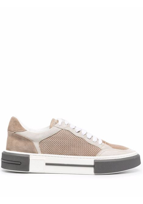 Brown and cream leather panelled low-top sneakers  ELEVENTY |  | D72SCND03-SCA0D00902