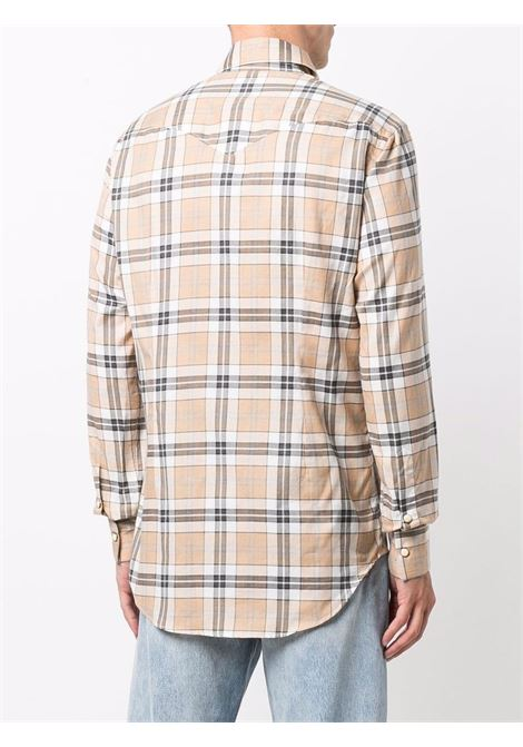 Beige and cotton check-print button-up shirt ELEVENTY |  | D75CAMA23-TES0D08204