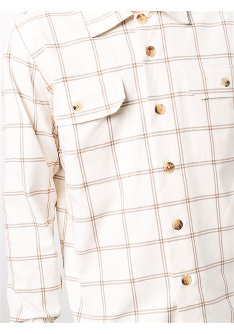 white and camel cotton check-print button-up shirt  ELEVENTY |  | D75CAMD01-TES0D07904