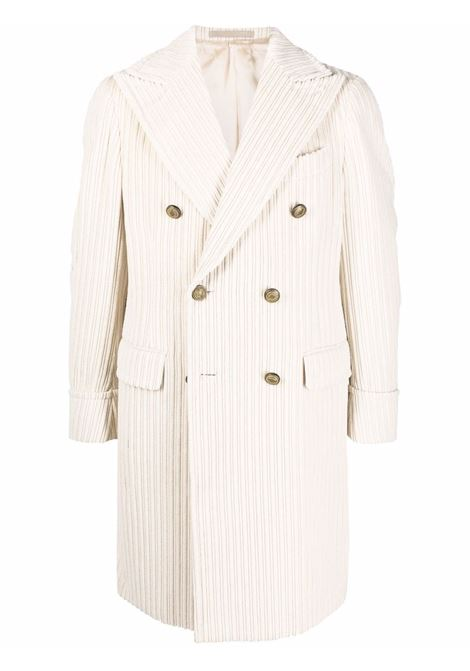 Cappotto doppiopetto in velluto a coste di cotone panna ELEVENTY | Cappotti | D75CAPD03-TES0D04402