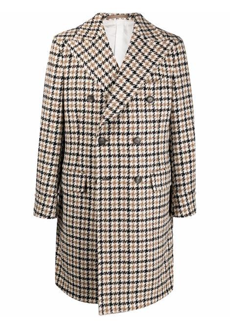 Cappotto doppiopetto pied de poule in lana vergine alpaca beige ELEVENTY | Cappotti | D75CAPD03-TES0D04600