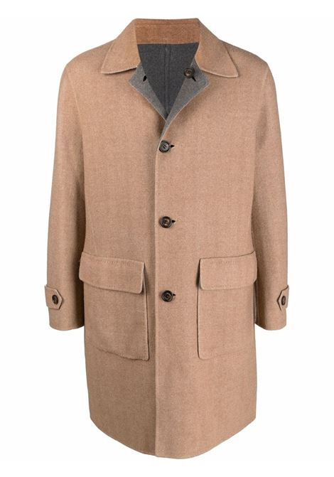 Camel brown wool single-breasted button coat   ELEVENTY |  | D75CAPD16-TES0D00902