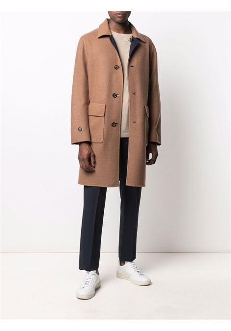 Cappotto reversibile in lana blu e marrone con tasche frontali ELEVENTY | Cappotti | D75CAPD16-TES0D05411