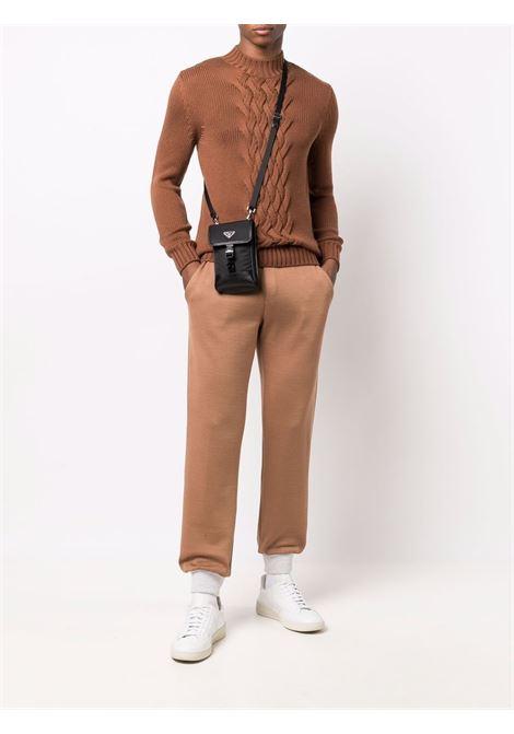 Pantaloni jogger bicolore in cotone marrone tabacco e grigio chiaro ELEVENTY | Pantaloni | D75FELD11-FEL2600504A