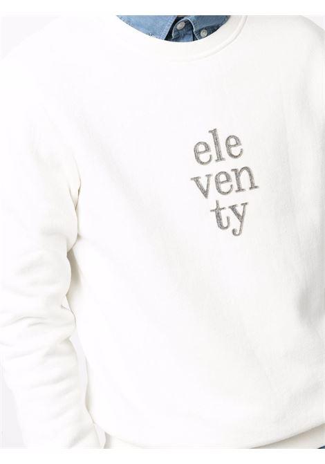 Felpa girocollo in cotone bianco con logo Eleventy ELEVENTY | Felpe | D75FELD19-TES0D16301