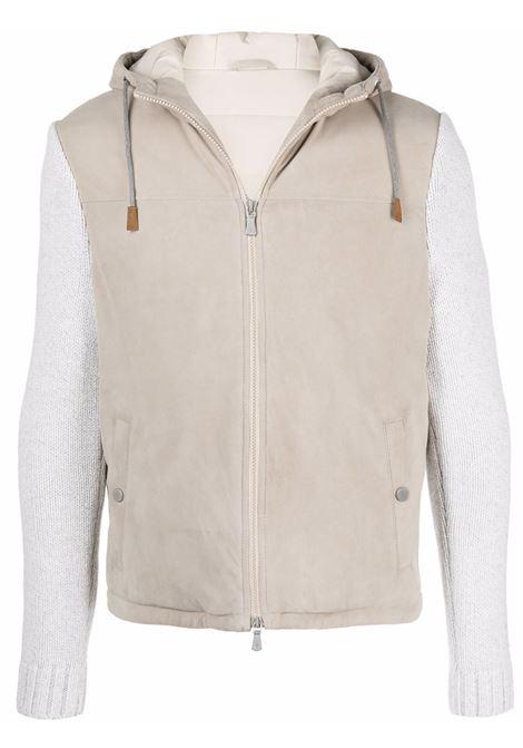 Giacca a pannelli in pelle di agnello e lana beige chiaro e panna ELEVENTY | Felpe | D75GBT10-PEL0D02000-00