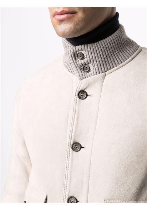 Bomber in shearling bianco con collo a fascia a coste ELEVENTY | Giubbini | D75GBTD02-SHY0D00101