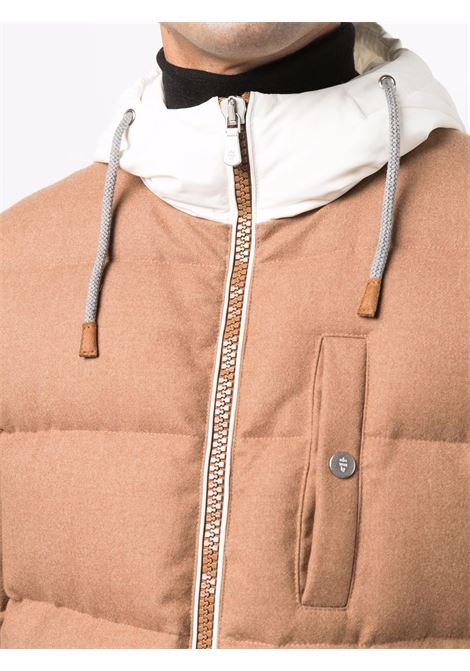 Piumino Bimaterico in lana e piuma color cappucino ELEVENTY | Piumini | D75GBTD08-TES0D11604-01
