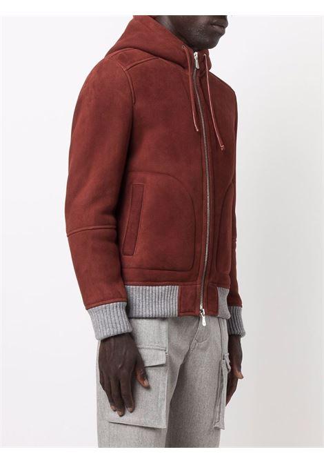 Giubbino con cappuccio in pelle di agnello rosso bordeaux ELEVENTY | Giubbini | D75GBTD17-SHY0D00309