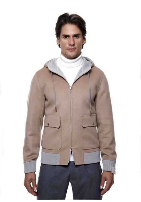 giacca in panno di cashmere cammello con cappuccio grigio ELEVENTY | Giubbini | D75GBTD25-TES0D16604