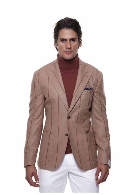 Beige wool and cotton pinstripe-print single-breasted blazer ELEVENTY |  | D75GIAC12-TES0D00202