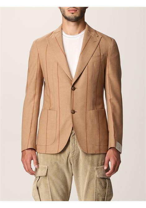 Blazer monopetto gessato beige in lana e cotone ELEVENTY | Giacche | D75GIAC12-TES0D00202