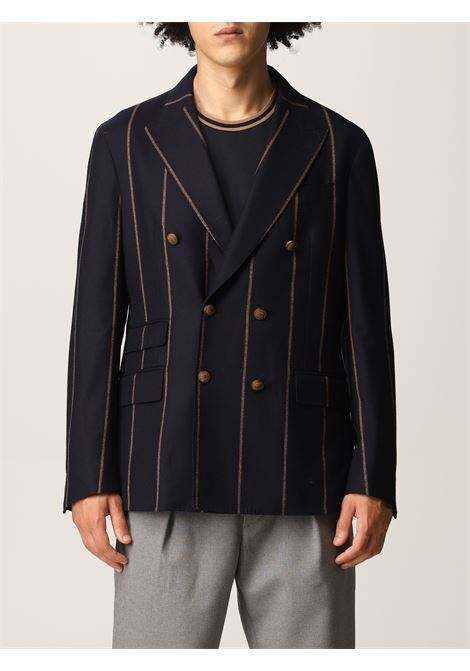 Navy blue and light beige wool pinstripe double-breasted blazer  ELEVENTY |  | D75GIAC14-TES0D00211