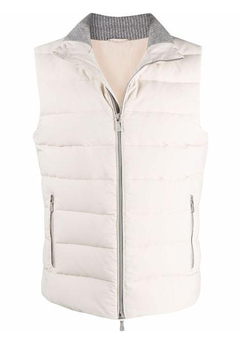Gilet in piuma d'oca di lana bianca con pannelli grigi a contrasto ELEVENTY | Gilet | D75GILD05-GBT270076200