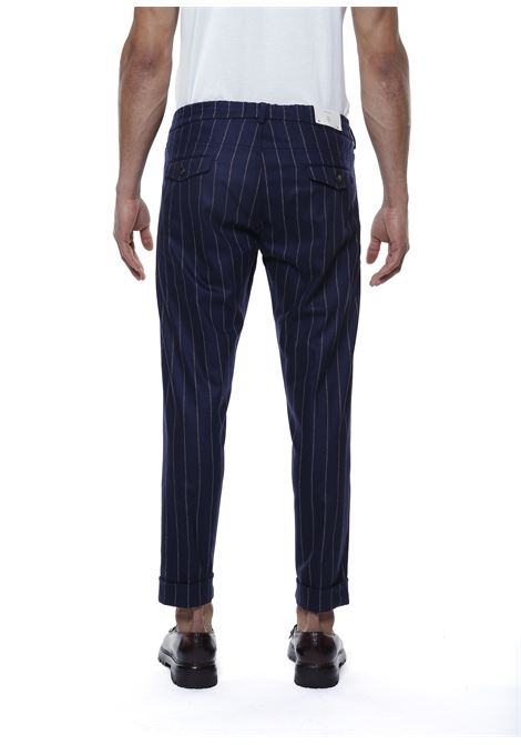 Pantaloni gessati blu scuro in lana e cashmere ELEVENTY | Pantaloni | D75PANB21-TES0D03511