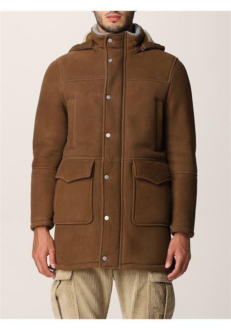 Parka marrone in montone e shearling con cappuccio staccabile ELEVENTY | Cappotti | D75SPOD03-SHY0D00305