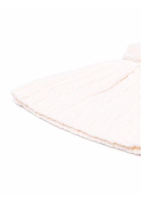 Berretto panna in lana bianca con pompon in maglia a trecce ELEVENTY | Cappelli | D76CPLD01-MAG0B00201