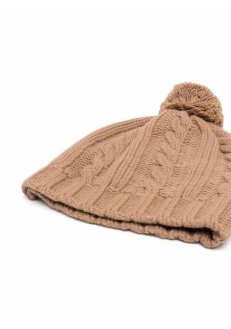 Berretto con pompon in lana beige con lavorazione a trecce ELEVENTY | Cappelli | D76CPLD01-MAG0B00204