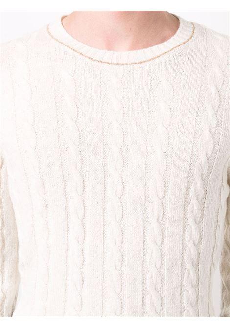 Maglia bianca in lana e cashmere a trecce con cuciture a contrasto ELEVENTY | Maglieria | D76MAGD01-MAG0D00301