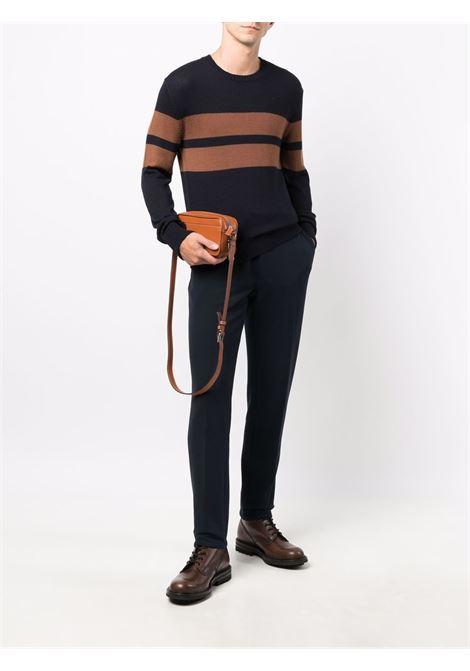 Tabacco brown and dark blue virgin wool intarsia knit wool jumper  ELEVENTY |  | D76MAGD16-MAG0D01011-04N
