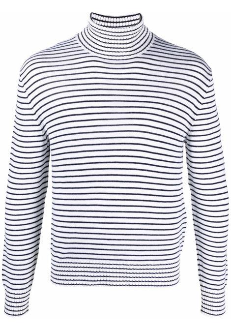 dolcevita in lana vergine con motivo a righe bianco e blu navy ELEVENTY | Maglieria | D76MAGD17-MAG0D01100-11