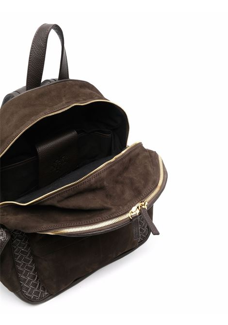 Dark brown leather zip-up backpack featuring interwoven design ELEVENTY |  | D77BORD02-PEL0D01517