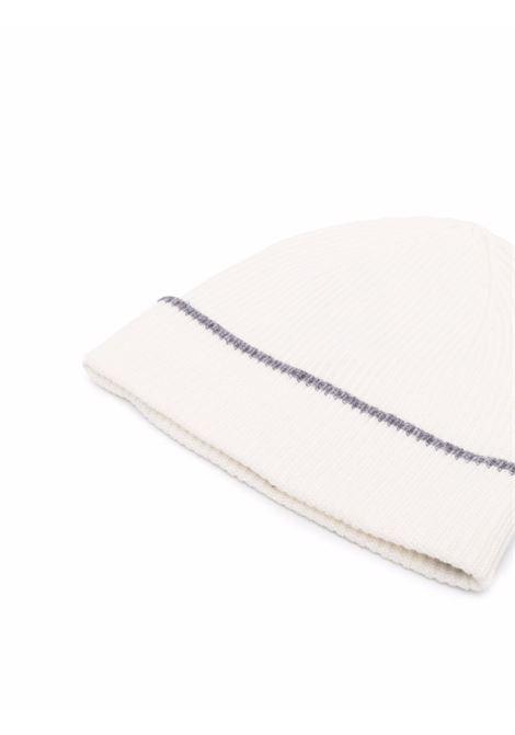 Berretto in cashmere bianco sporco con dettaglio grigio ELEVENTY | Cappelli | D77CAPD01-TES0D02601-14