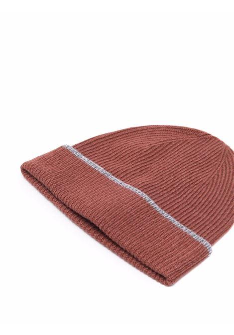Berretto a righe in cashmere marrone e grigio ELEVENTY | Cappelli | D77CAPD01-TES0D02609-14