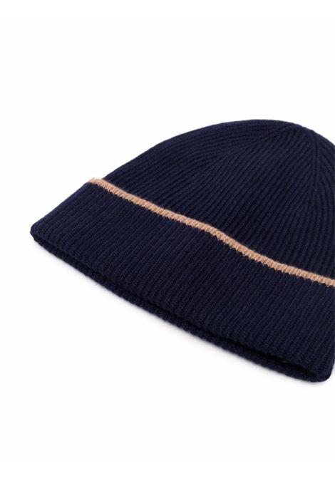 Berretto in cashmere bicolore blu navy e beige ELEVENTY | Cappelli | D77CAPD01-TES0D02611-04