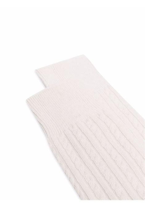 Calzini in maglia a coste in lana e cashmere color avorio ELEVENTY | Calze | D77CLZD01-TES0D02801