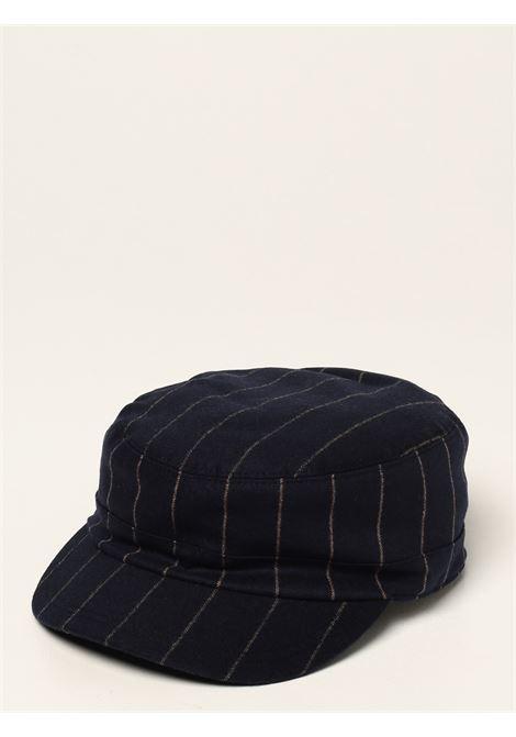 Berretto baker boy a righe in misto lana vergine e cashmere blu navy ELEVENTY | Cappelli | D77CPLD04-TES0D03511