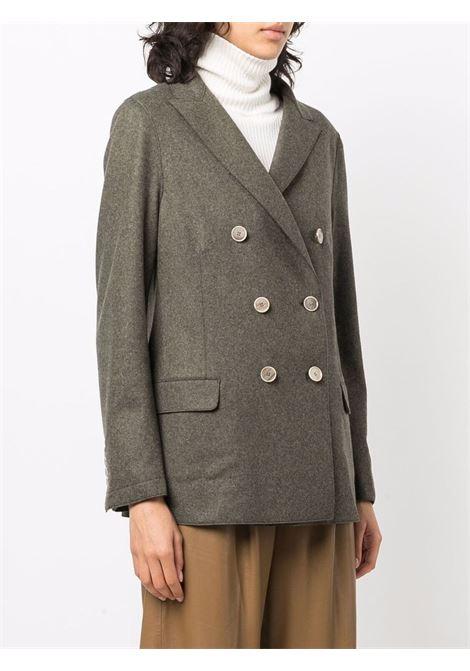 Blazer sartoriale doppiopetto verde militare in misto lana ELEVENTY | Giacche | D80GIAD02-JAC2401807