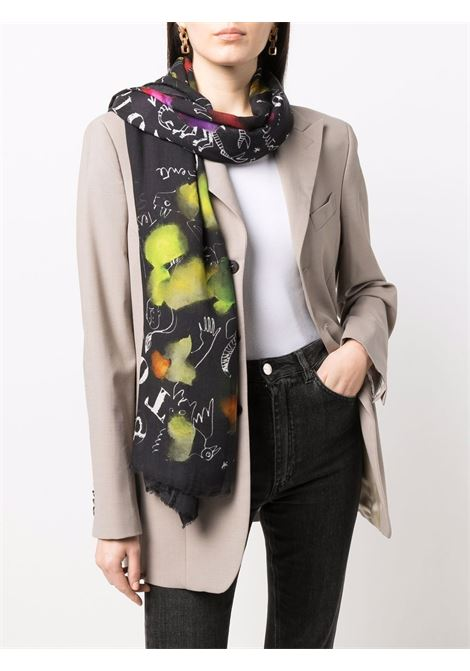 Black 140x190 cashmere foulard scarf with zodiac pattern. FALIERO SARTI |  | I22-2148 ZODIAK78370