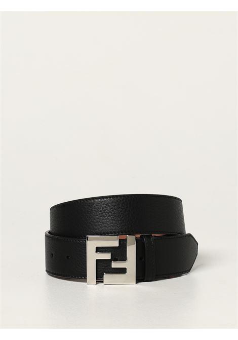 black 4cm leather belt with palladium silver-tone FF logo plaque FENDI |  | 7C0403-SFRF0GXN