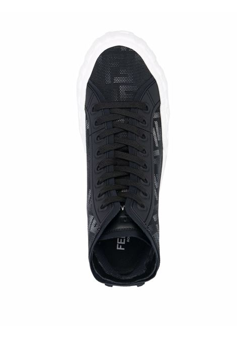 Black leather lace-up sneakers featuring all over FF monogram pattern FENDI |  | 7E1424-AD76F13RZ