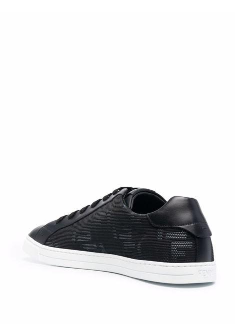 Black leather lace-up sneakers featuring FF Fendi monogram pattern FENDI |  | 7E1455-ABNXF1AU4