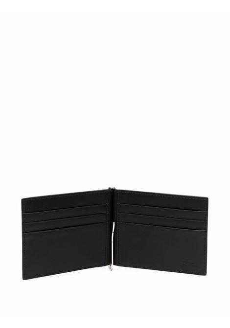 Portacarte goffrato con stampa micro FF in pelle di vitello nera e grigia FENDI | Portafogli | 7M0281-AGLPF06LB