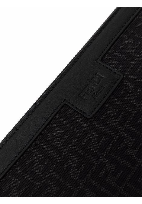 pochette in pelle nera con stampa FF all over FENDI | Clutch | 7N0111-AF0NF0NPN