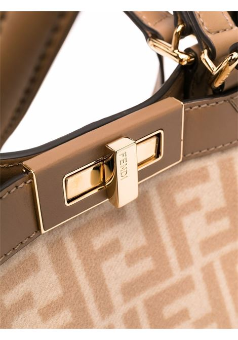 Borsa tote PEEKABOO X-TOTE beige in lana e pelle marrone FENDI | Borse tote | 8BH374-AHJ8F1F24