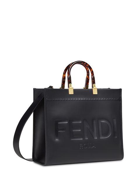 borsa tote Sunshine in pelle nera con logo Fendi impresso FENDI | Borse tote | 8BH386-ABVLF0KUR