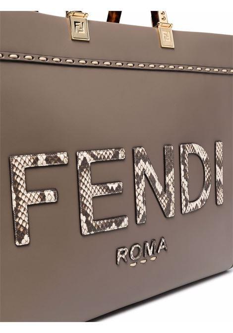 Borsa tote Sunshine in pelle marrone con logo Fendi effettoi serpente FENDI | Borse tote | 8BH386-AHN5F1FEN
