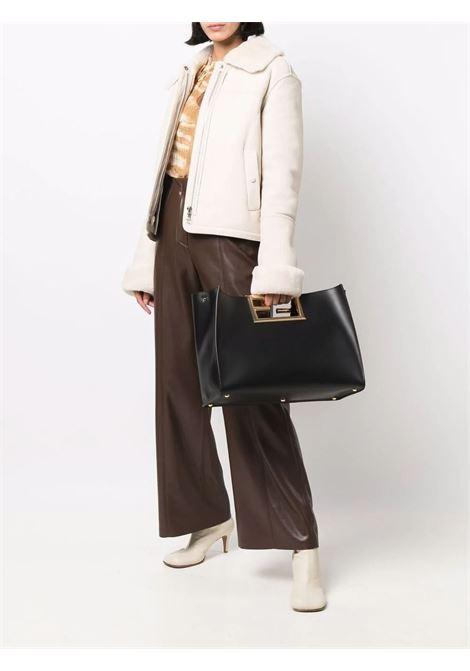 Black calf leather Way tote bag featuring gold FF logo plaque FENDI |  | 8BH391-AAIWF0KUR