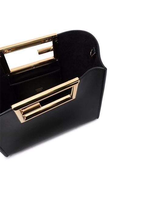 Borsa tote piccola Way in pelle di vitello nera con logo Fendi dorato FENDI | Borse a mano | 8BS054-AAIWF0KUR