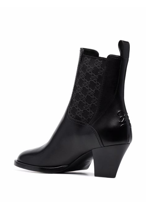 Black leather Tronchetto ankle boots featuring FF Karligraphy motif, FENDI |  | 8T8174-AGE2F1OS5