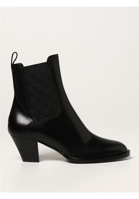 Black leather Tronchetto ankle boots featuring FF Karligraphy motif, FENDI      8T8174-AGE2F1OS5