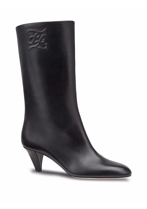 Stivaletti in pelle di agnello neri da 55 mm con logo Karligraphy FENDI | Stivali | 8T8178-AGDVF0QA1