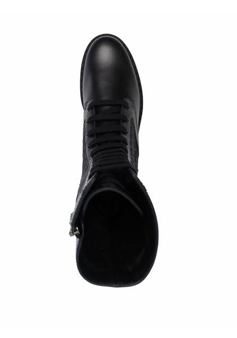 Black leather Fendi Karligraphy debossed logo combat boots  FENDI |  | 8T8213-AGEJF1OS5
